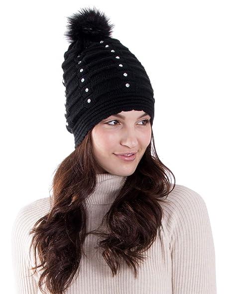 Women Winter Diamond Knit Faux Fur Pompom Beanie Hat c7128b43c56