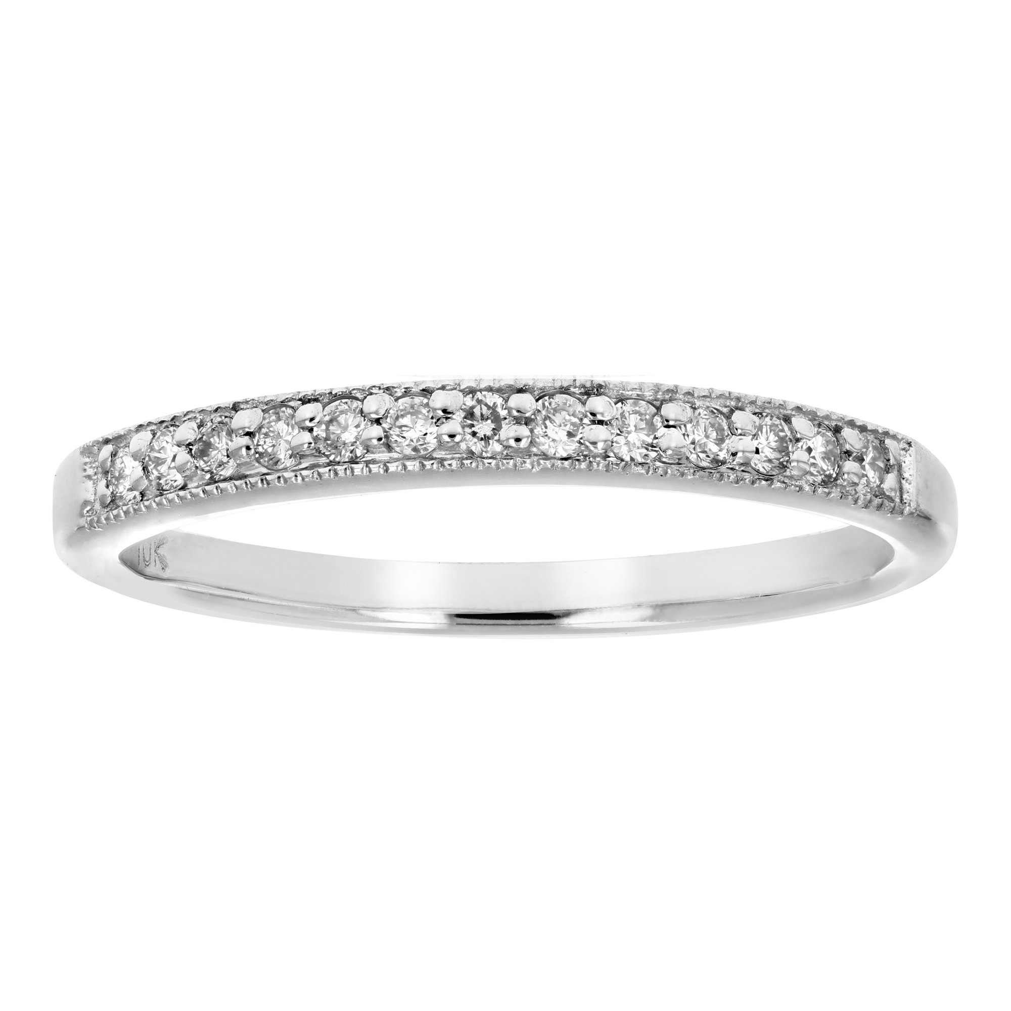 1/6 ctw Petite Diamond Wedding Band in 10K White Gold In Size 7