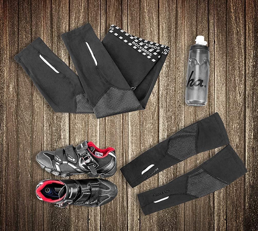 ROCKBROS Calentadores de Piernas T/érmicas de Invierno para Hombre Mujer Ciclismo Running Deportes Negro