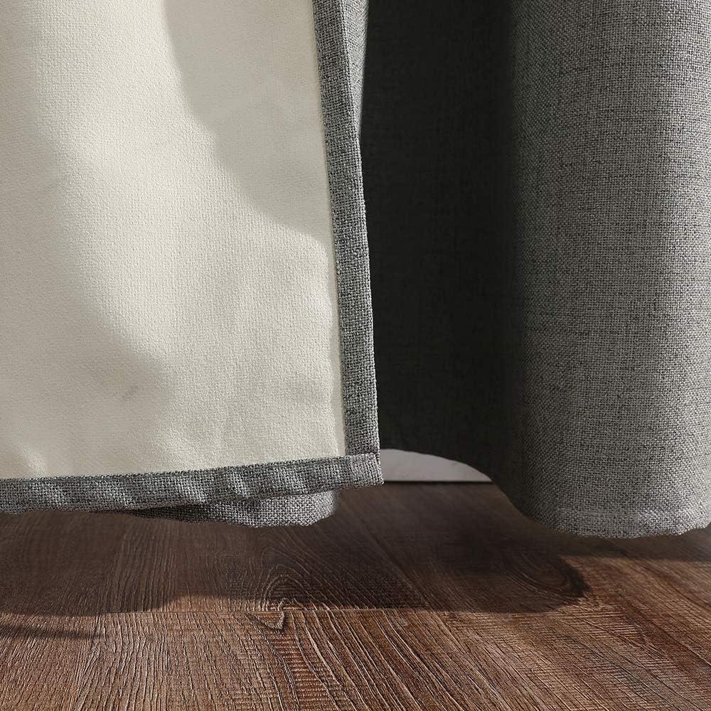 MIULEE 2 Panneaux Rideau en Lin Imitation Doux Rideau Occultant Thermiques R/églage De La Temp/érature Rideaux /À Oeillets D/écoration pour Chambre Salon 140X175Cm Bleu Clair