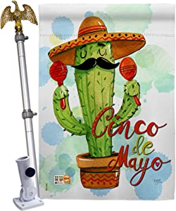 Breeze Decor Mr Cactus Cinco de Mayo House Flag - Eagle Set Summer Mexican Fiesta Party PinataOutdoor Summertime Sunny - Decoration Banner Small Garden Yard Gift Double-Sided Made in USA 28 X 40