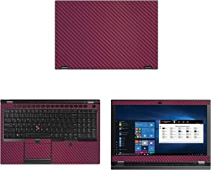 "Decalrus - Protective Decal for Lenovo ThinkPad P53 (15.6"" Screen) Laptop Wine Carbon Fiber Skin case Cover wrap CFlenovoThnkpd15_P53Wine"