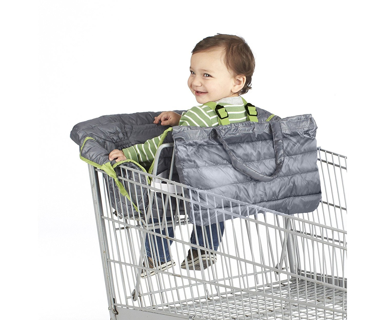 Nuby 2-in-1 Universal Size Quilted Shopping Cart and High Chair Cover, Grey by Nuby (Image #2)