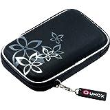 """QUMOX Nero (fiore) Custodia rigida da 2,5 """"HDD Borsa per il caso Portable Drive Hard Disk"""