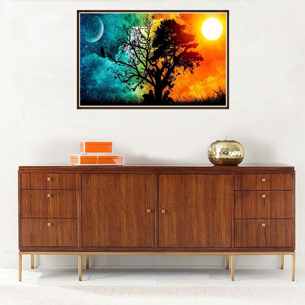 5D DIY Diamond Painting A, 30x45cm Day and Night Lovers Tree Novelty Rhinestone Pasted Embroidery Arts Craft Home Decor Living Room Bedroom 30x45cm
