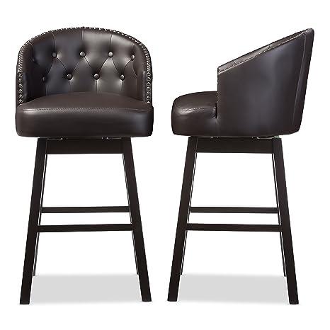 Magnificent Baxton Studio Bar Stool 2 Piece Set Brown Uwap Interior Chair Design Uwaporg