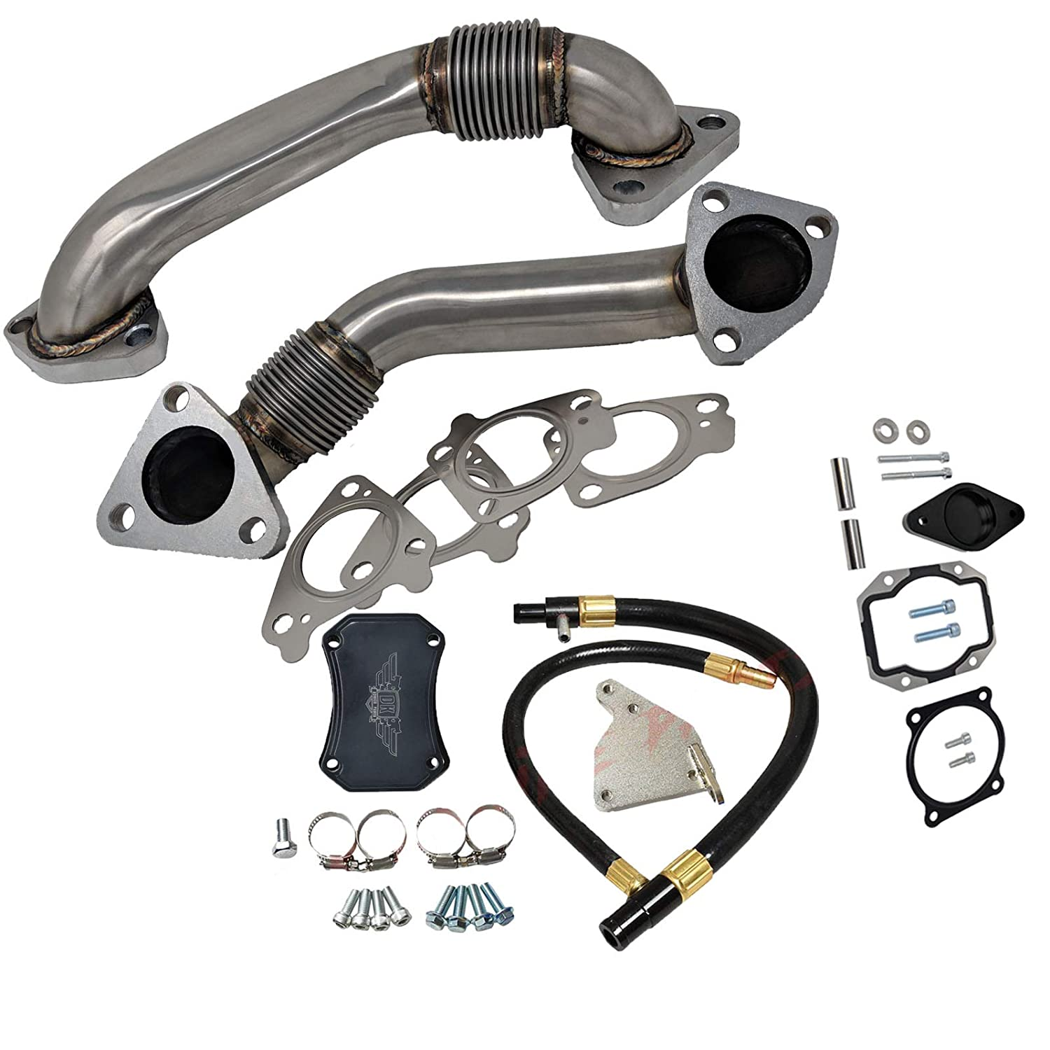 BOTH LBZ GM Chevrolet Duramax 6.6 6.6L EGR Valve Kit with Heavy Duty Exhaust Up Pipes