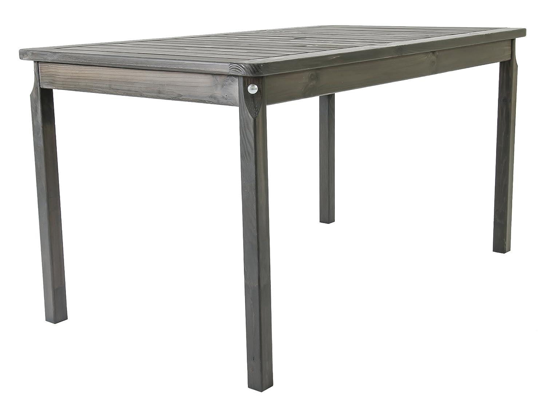 Trendy-Home24 Esstisch 135 x 77 x 70 cm taupe Holztisch Gartentisch Massivholz Tisch