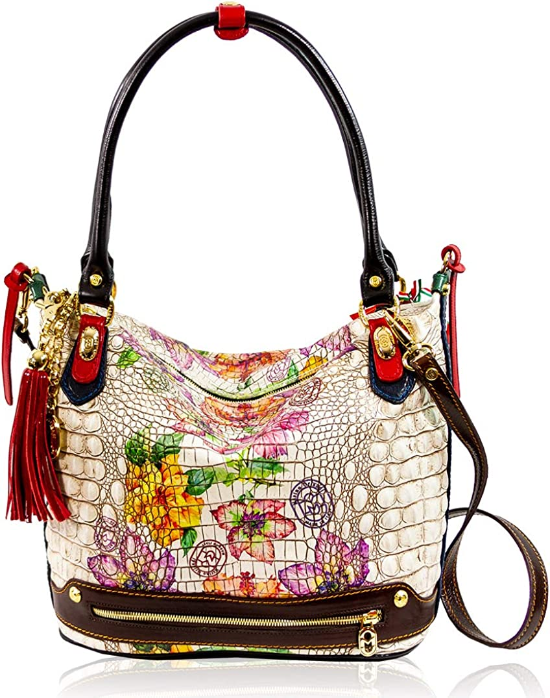 Marino Orlandi Women's Large Handbag Italian Designer Tote Purse Genuine Leather Top Handle Satchel Crossbody Bag Hobo in Antique Floral Croc Embossed Design with Tassel
