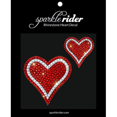 Sparkle Rider Rhinestone Decal Stickers Heart-Shape - Unique Girly Accessory Gift for Her Women Wedding - Waterproof Bling Decor for Car Motorcycle Helmet Wall Window (2 pcs Red/Silver): Automotive