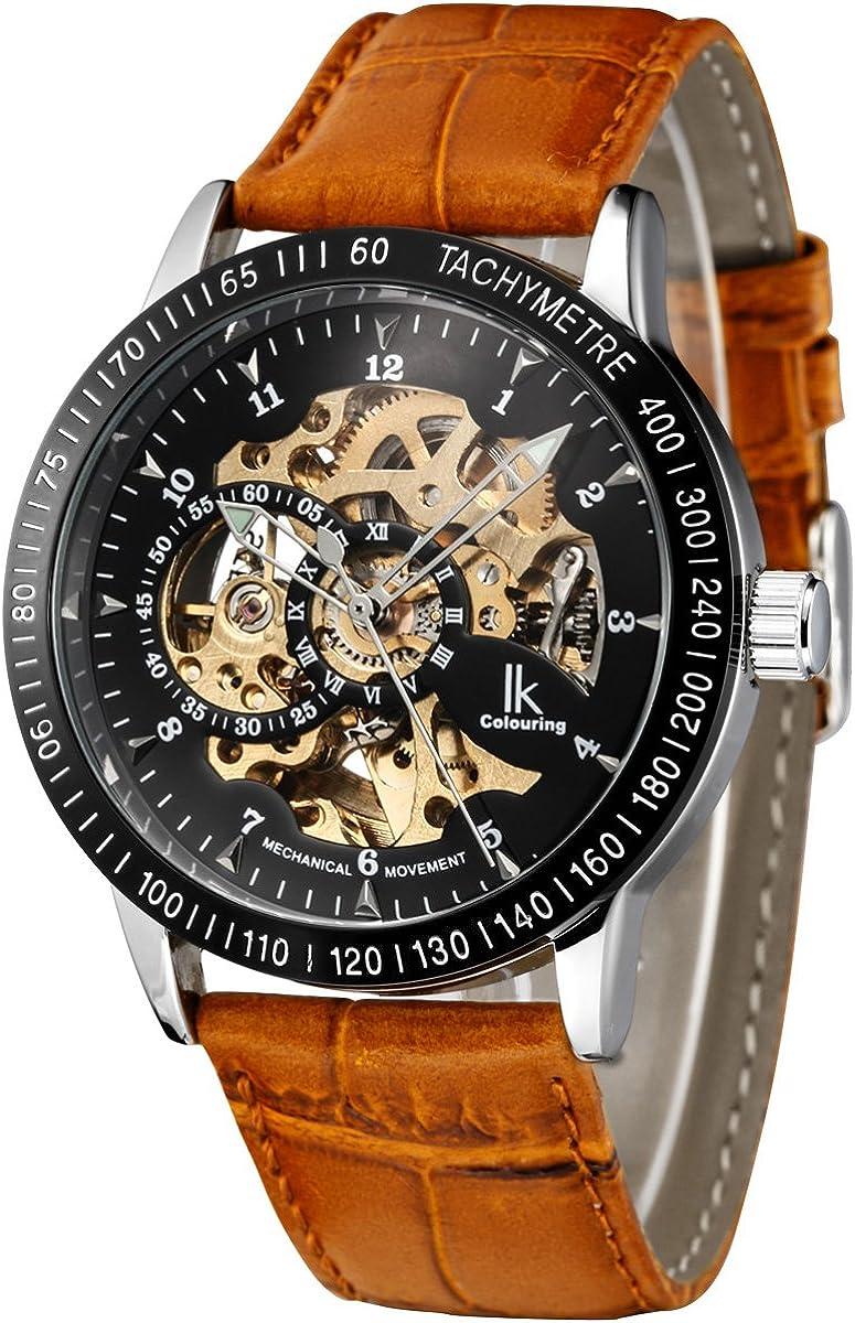 Alienwork IK Reloj Mecánico Automático Relojes Automáticos Hombre Mujer Piel de Vaca marrón Analógicos Unisex Plata Negro Impermeable