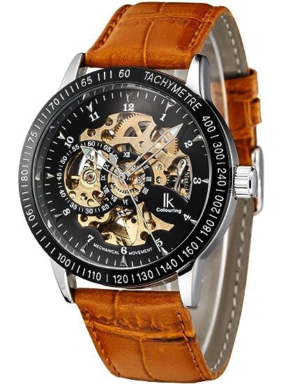 Alienwork IK Reloj Mecánico Automático Relojes Automáticos Hombre Mujer Piel de Vaca marrón Analógicos Unisex Plata Negro Impermeable: Amazon.es: Relojes