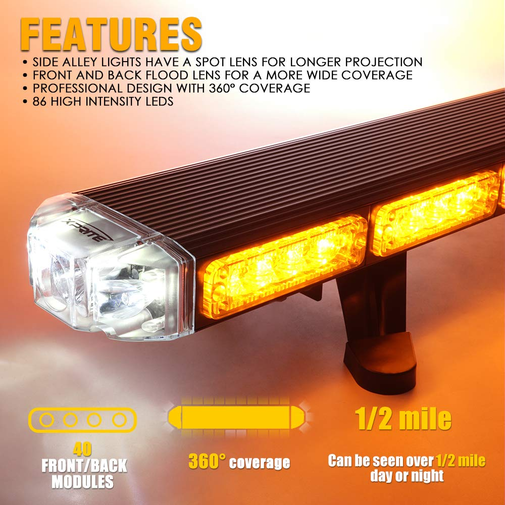 Construction Vehicle Xprite 48 Sparrow X Series Traffic Advisor Amber Strobe Light Bar Emergency Warning Security Strobe Lights Professional High Intensity LED Roof Top lightbar for Plow,Tow Truck