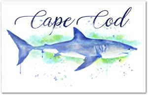 Cape Cod, Massachusetts - Great White Shark - Watercolor (12x8 Acrylic Photo Block Gallery Quality)