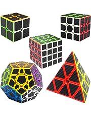 Speed Cubes 2x2x2 + 3x3x3 + 4x4x4 + Pyraminx + Megaminx, LSMY 5 Pack Puzzle Magic Cubes Carbon Fiber Sticker Toy