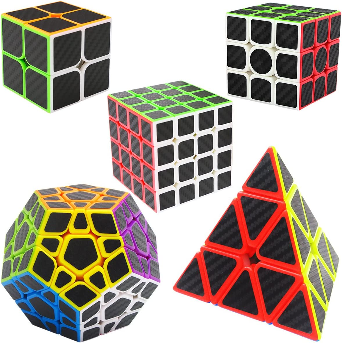 LSMY Speed Cubes 2x2x2 + 3x3x3 + 4x4x4 + Pyraminx + Megaminx, 5 Pack Puzzle Mágico Cubo Carbon Fiber Sticker Toy