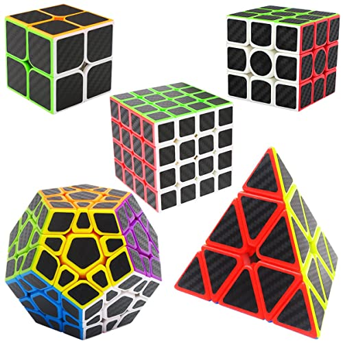 Speed Cubes 2x2x2 + 3x3x3 + 4x4x4 + Pyraminx + Megaminx, LSMY 5 Pack Puzzle Magic Cubes Carbon Fiber Sticker Toy