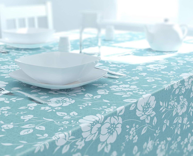 Dehaus® Mantel Antimanchas Grande Rectangular Impermeable Azul Huevo de Pato 250 cm x 140 cm, Manteles de Plástico Resinado Hules para Mesas Azul Claro (Floración Floral)