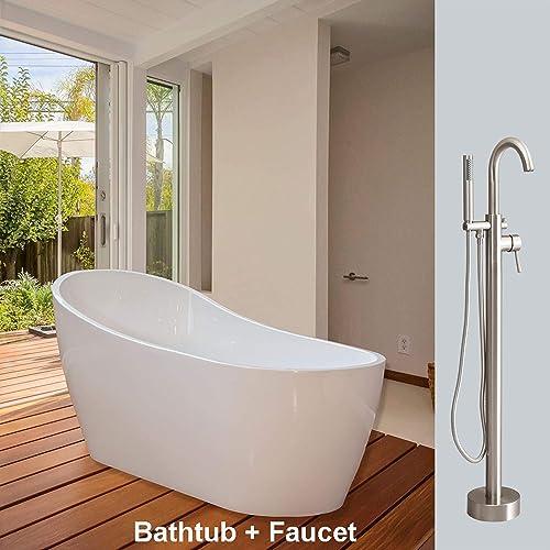 Woodbridge 67 Acrylic Bathtub Soaking Tub Brushed Nickel Freestanding F0001, BTA1508 F000, B-0001 with Faucet II