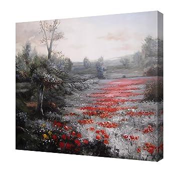 Cuadro En Lienzo Paisaje Con Flores Rojas Rectangular 73x60 Cm