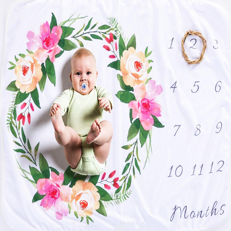 XNX Baby Milestone Blanket Baby Monthly Blanket Boy Baby Shower Newborn Photography Props Premium Fleece - New Mom