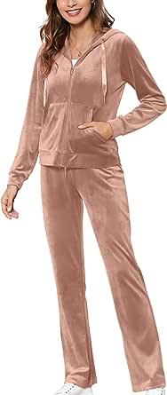 MessBebe Womens Velour Tracksuits Set Sportswear 2 Piece Sweatsuits Long Sleeve Loungewear Hoodie and Sweatpants Set