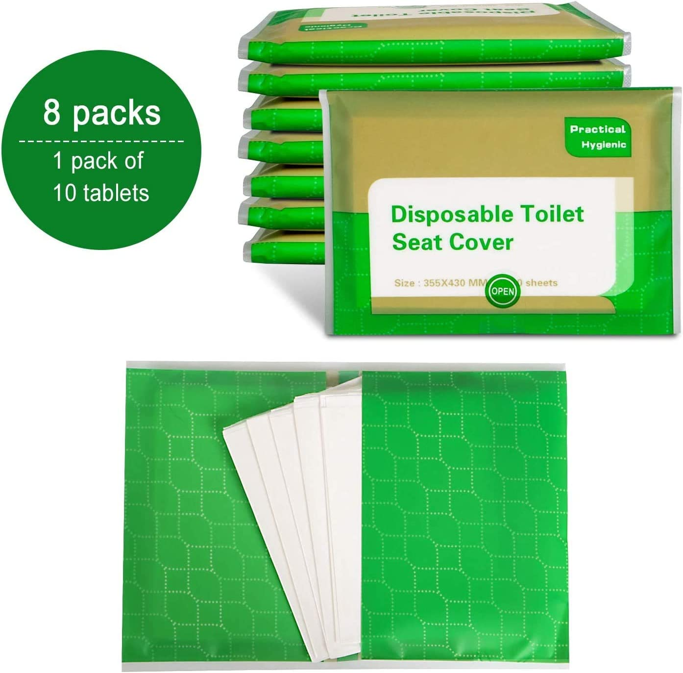 80-Count ,Portable Travel Size Bath Covers for Adults Kids,Bio-Degradable Materials Seat Covers Toilet Seat Covers Disposable,8 Packs