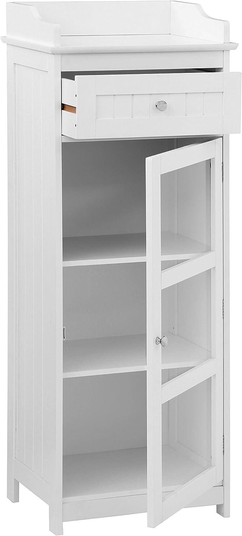 Premier Housewares Portland Gabinete, Madera, Blanco, H119 x W45 x D33cm: Amazon.es: Hogar