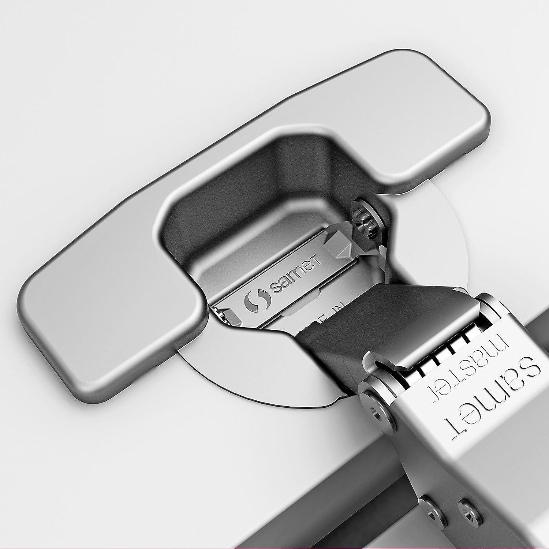 2 x Master Toolless T45 Topfband werkzeuglose Topfmontage Eckanschlag 110/° mit D/ämpfer und Kreuzplatte mit Langlochverstellung Topfscharniere von SO-TECH/® Soft-Close