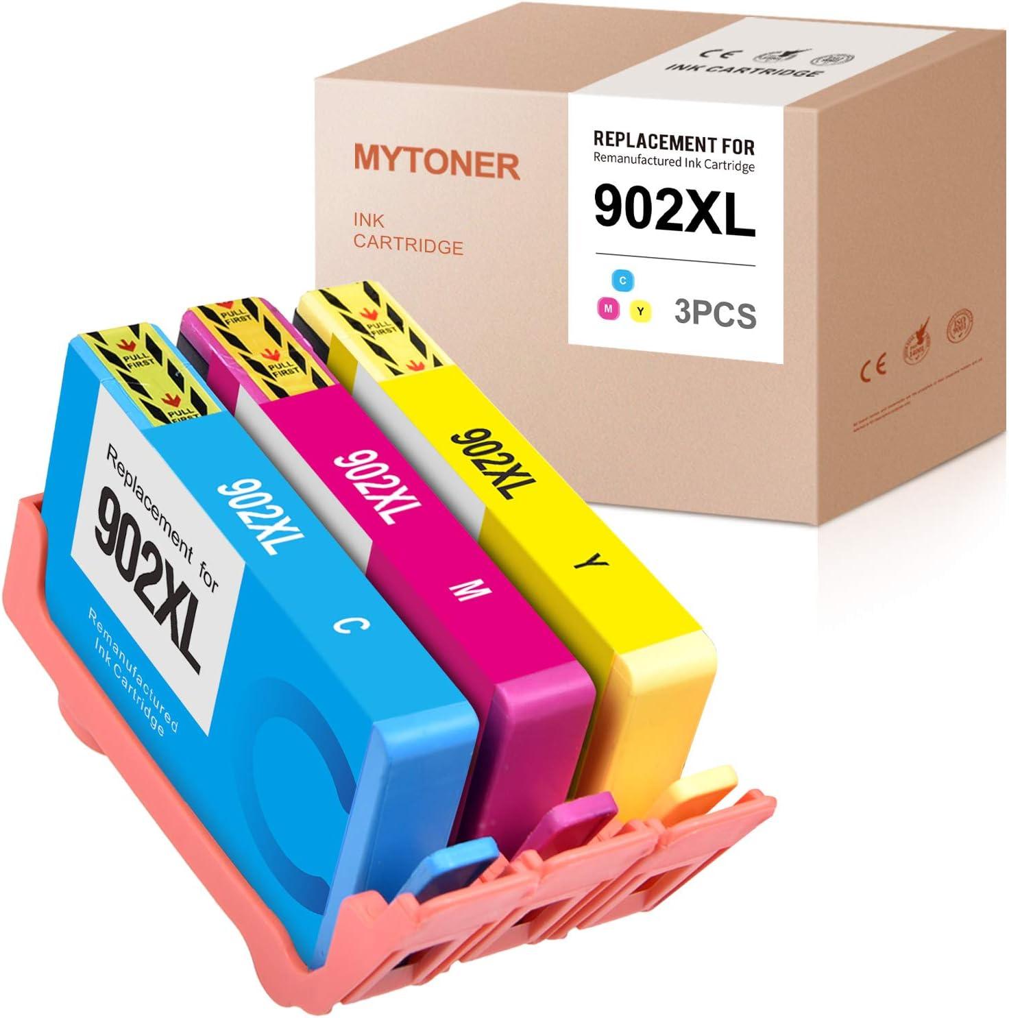 MYTONER Remanufactured Ink Cartridge Replacement for HP 902 902XL T6M02AN T6M04AN T6M10AN for HP OfficeJet Pro 6978 6962 6968 6958 6975 6970 6960 6954 6950 Printer (Cyan Magenta Yellow, 3-Pack)