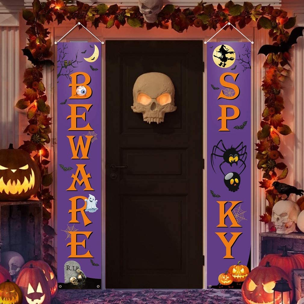 Joyoumess Halloween Decorations Outdoor Indoor Spooky Beware Sign for Front Door Decor Large Banners Hanging Porch Signs Witch for Home Party Office Outside Yard Garden Supplies