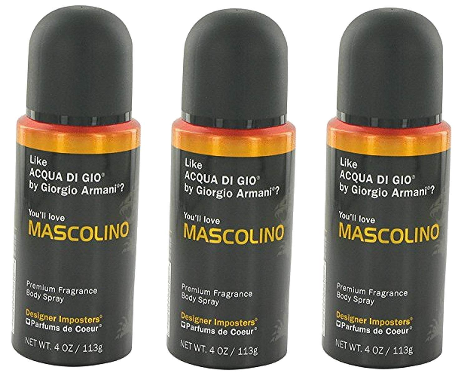 Designer Imposters Mascolino by Parfums De Coeur Body Spray 4 oz for Men (SET OF 3)