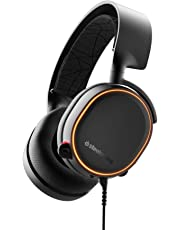 SteelSeries Arctis 5 Cuffie da Gioco, Illuminazione RGB, Tecnologia Surround DTS Headphone:X v2.0 per PC e PlayStation 4, Cablata, Nero [Edizione 2019]