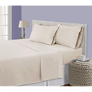 CHATEAU HOME COLLECTION Luxury 800-Thread-Count 100% Egyptian Cotton Bed Sheets, 4 Pc Full - Cameo Sheet Set, Single Ply Long-Staple Yarns, Sateen Weave, Fits Mattress Upto 18'' Deep Pocket