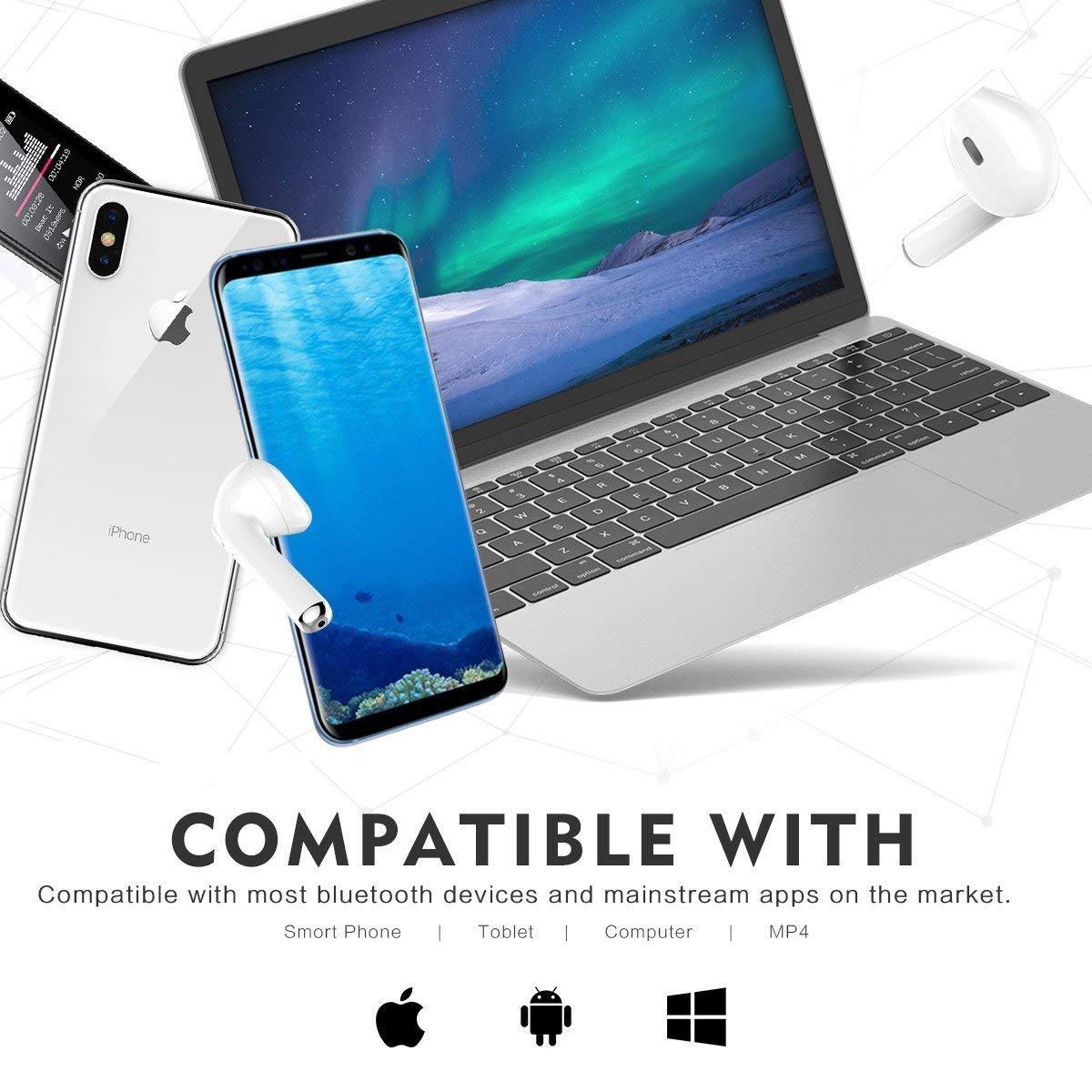 Auriculares Bluetooth Auriculares inalámbricos con Estuche de Carga para XR XS X 8 7 6plus Samsung Galaxy S9 S8 Huawei y Otros teléfonos Inteligentes iOS ...