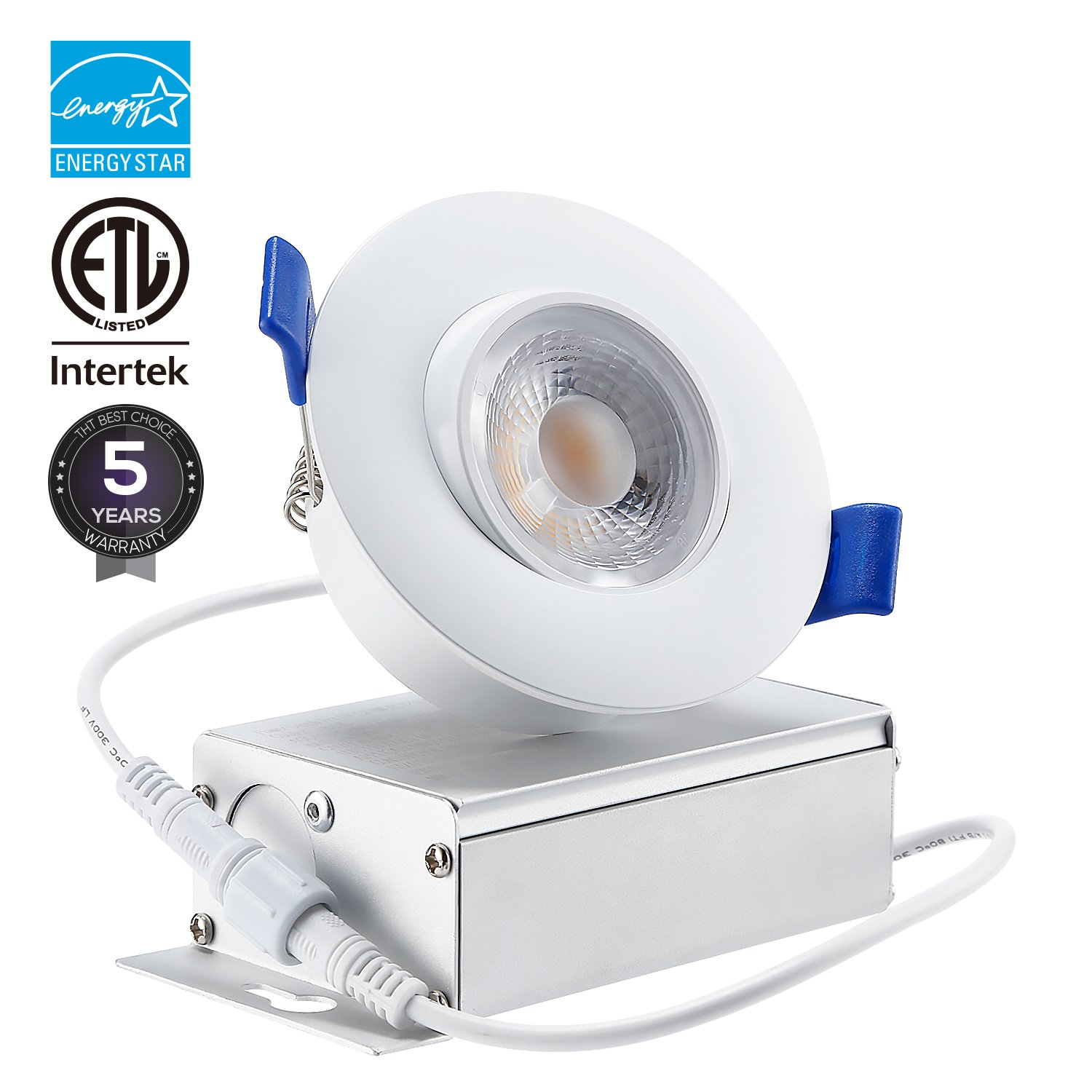 TORCHSTAR 3 Inches Gimbal LED Recessed Light with Junction Box, 8W (55W Equiv.) Dimmable Downlight, ETL & Energy Star Listed, 5000K Daylight, 5 Years Warranty