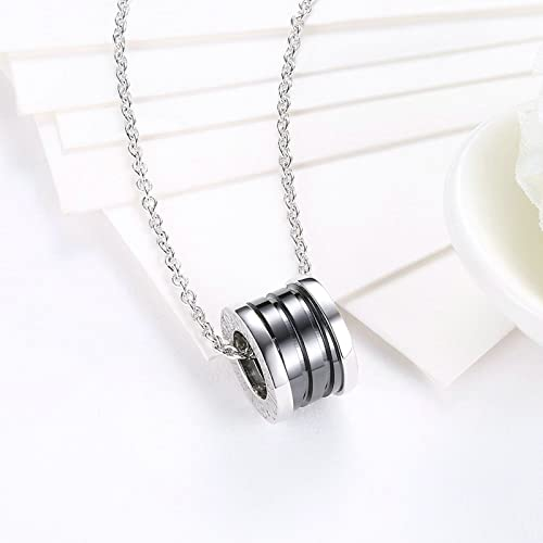 Gnzoe Jewelry Women Stainless Steel Necklace Key Shape Pendant White Women Chain 45+5CM