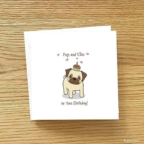 Amazon Pugs And Kisses Birthday Card Pug Handmade