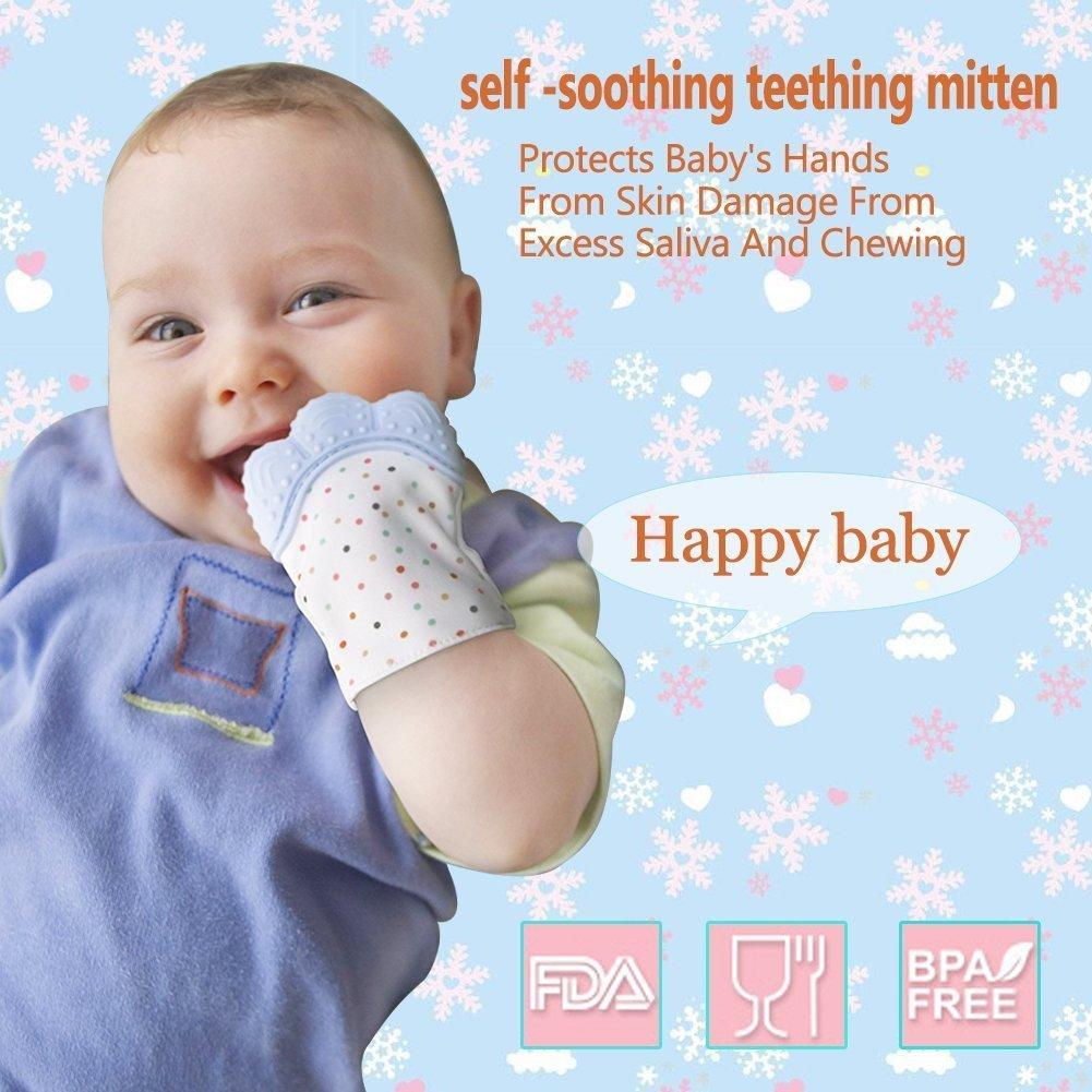 12 Meses Ni/ño Protege Las Manos De salvia /& Kauen Sichern Correa Ajustable Blue Dentici/ón Molare Guante silicona Dentista ni/ño Calmante Pain Relief de Edades 3