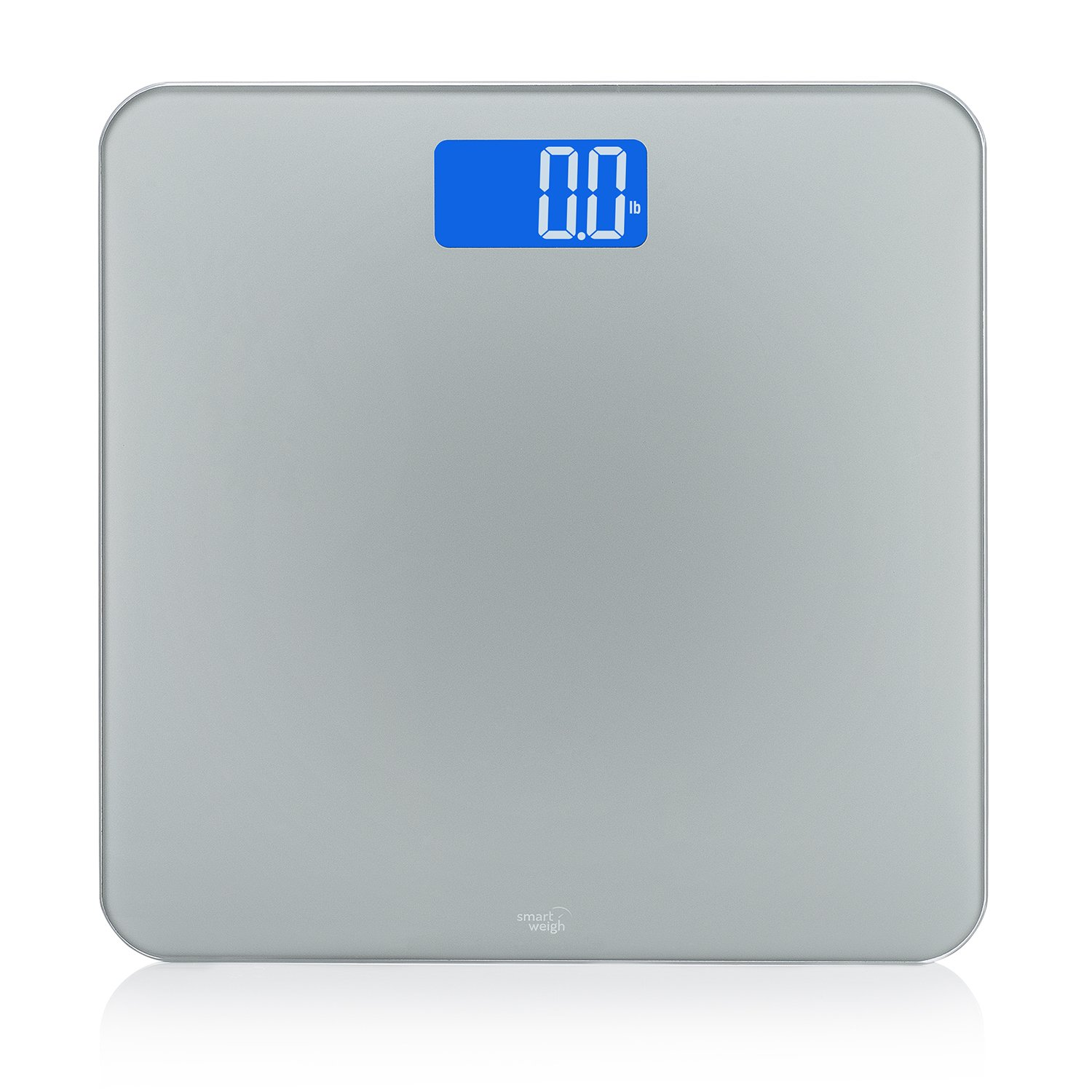 Smart Weigh Digital Body Weight Bathroom Scale with Smart Step-On Technology - Non-Slip - Modern Design –Accurate Weight Measurements,Backlit Large Display 440lbs - Grey