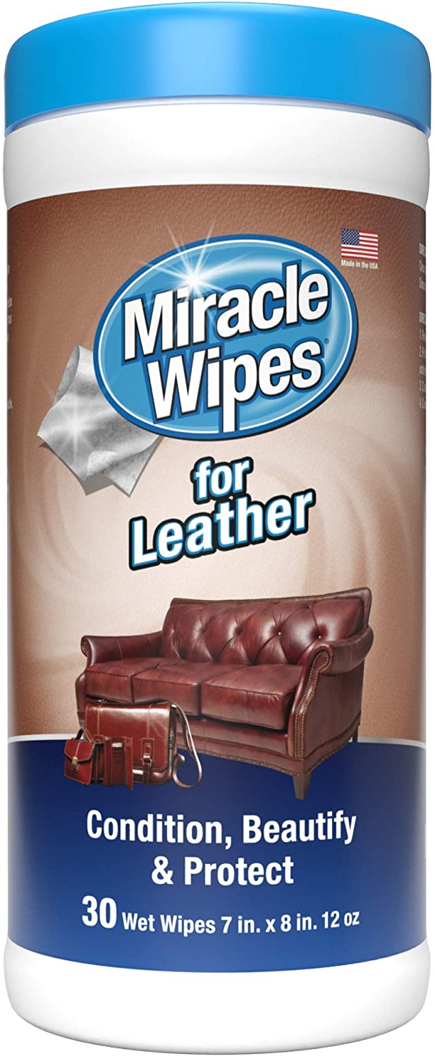 MiracleWipes for Leather Cleaning & Conditioning - Vehicle, Furniture, Shoes, Jacket, Interior, Upholstery - Clean, Protect, Moisturize - UV Protection, Help Prevent Fading, Cracking - (30 Count)