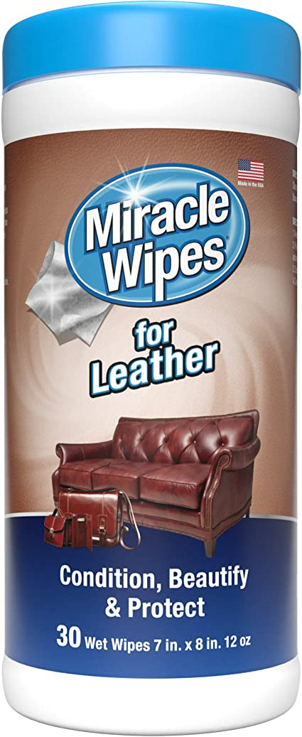 Amazon Com Miraclewipes For Leather Cleaning Conditioning Vehicle Furniture Shoes Jacket Interior Upholstery Clean Protect Moisturize Uv Protection Help Prevent Fading Cracking 30 Count Health Personal Care