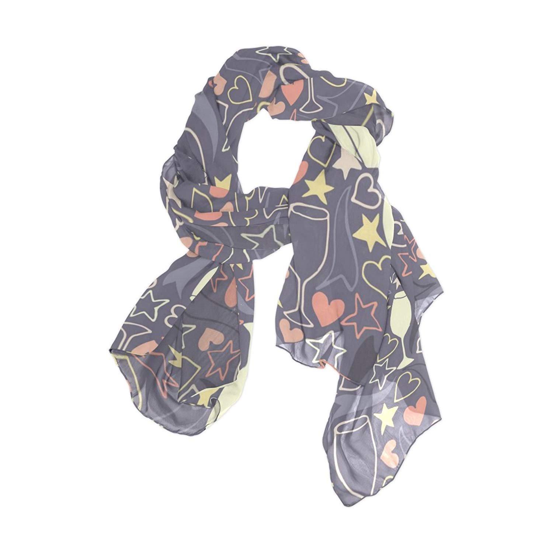 Scarfs for Women Heart Wine Glass Pentagram Lightweight Fashion Long Shawl Wraps