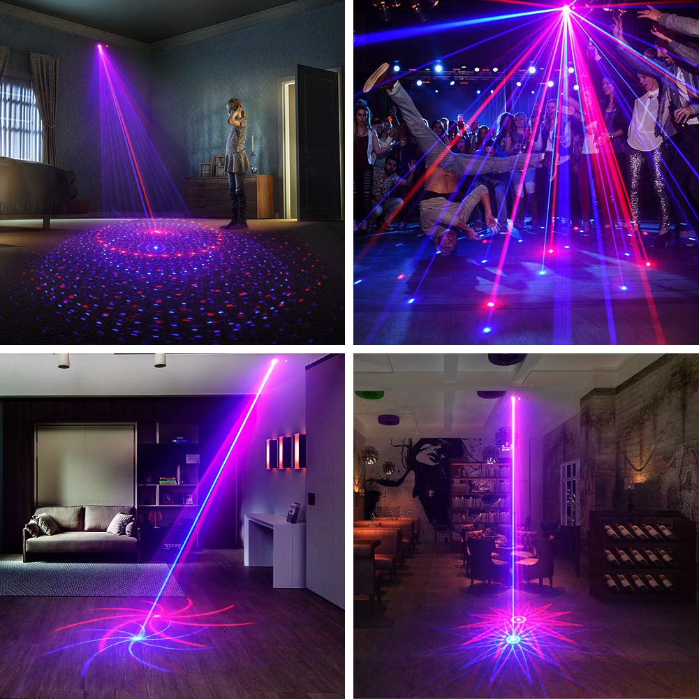 SUNY Laser Lighting 8 Gobos Effect Red Blue DJ Laser Light Blue LED Music Laser Projector Remote Control Sound Activated Stage Lighting Dance House Decoration Xmas Holiday Event Party Carnival Show by SUNY (Image #2)