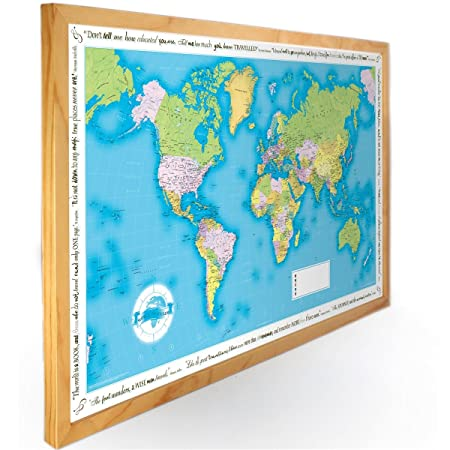 World traveller wall map framed in light wood amazon kitchen world traveller wall map framed in light wood gumiabroncs Choice Image