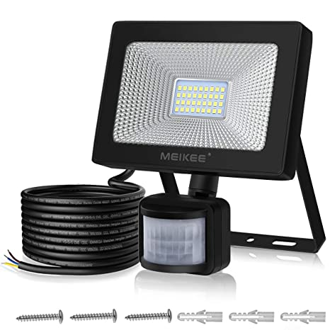 Foco LED con Sensor Movimiento de 3000LM, MEIKEE 30w Proyector LED exterior 6000K con detector