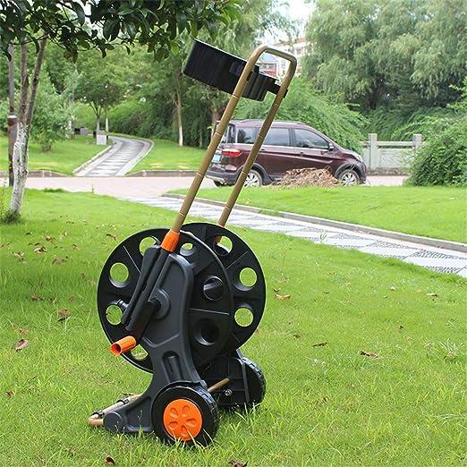 Carro de manguera de jardín de dos ruedas, tubería de agua de 4 puntos con capacidad