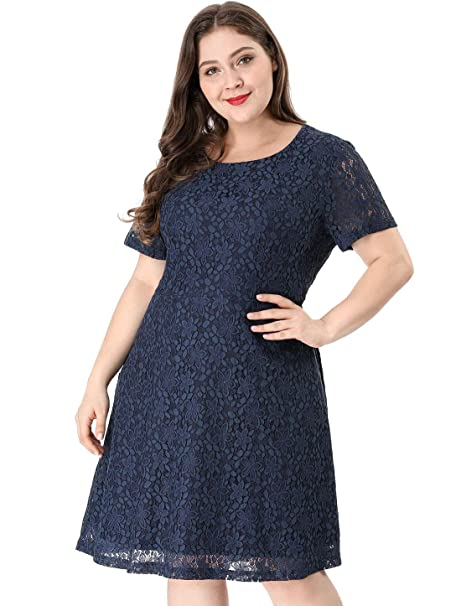Agnes Orinda Womens Plus Size A Line Choker Short Sleeve Open Back Lace Dress