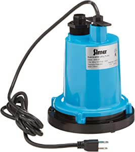 "Simer 2300-04 1/4 HP Submersible Utility Pump, Geyser Classic, Heavy-duty Cast Aluminum, Includes Garden Hose Adapter, 1-1/4"" Male NPT Discharge Pipe, 1320 GPH, 115V, 8-Feet Power Cord"