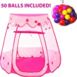 Playz Ball Pit Princess Castle Play Tents for Girls w/ Glow in The Dark Stars & 50 Balls - Pop Up Children Play Tent for Indoor & Outdoor Use Beautiful Playland Playhouse Tent w/ Zipper Storage Case